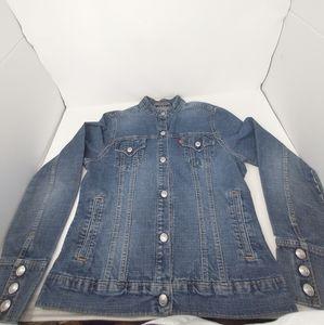 Levi's Mandarin Collar Snap Button Jean Jacket